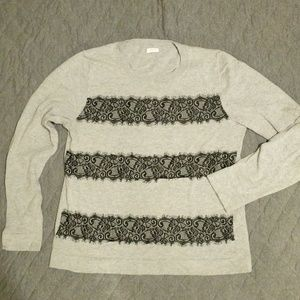 J. Crew Lace Stripe Applique Sweater
